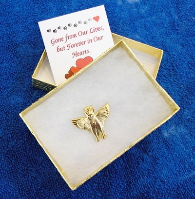 Angel Pins with Mini Custom Cards<br>and Gift Boxes
