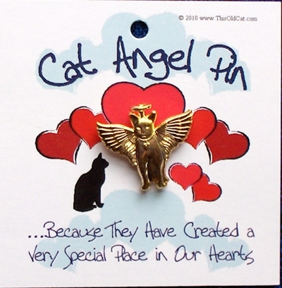 Gold Cat Angel Pins