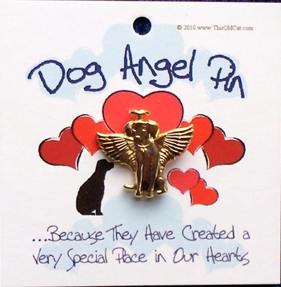Gold Dog Angel Pins