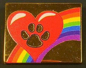 Rainbow Heart Paw Pins